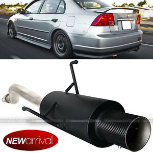 Fit 01 05 Civic 2 4 Dr Bolt On Axle Back Exhaust Black Muffler Carbon Fiber Tip