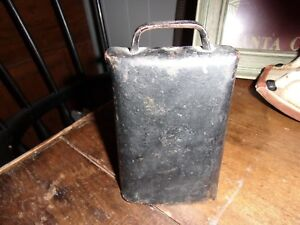 Vintage Antique Primitive Black Hand Forged Large Cow Bell 6 1 2 Nice Patina