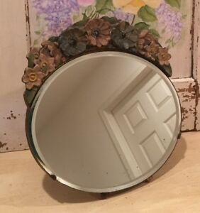 Vintage English Oval Beveled Barbola Mirror Faded Border Flowers Easel Stand