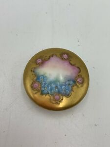 Antique Hand Painted Porcelain Stud Button 1 1 8 Blue Flowers W Gold