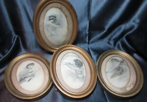 Vintage 4 Oval Metal Frames With Glass Pretty Ladies Angel Repurpose