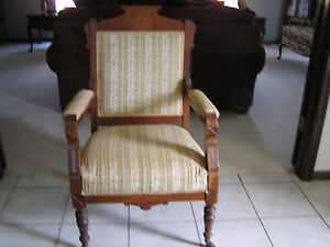 Antique Victorian Eastlake Arm Chair Upholstered Carved Wood Org Wheels Ex Cond