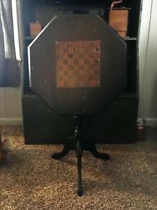 Antique Early Old Black Paint Colonial Candle Stand Table Checker Board Flip Top