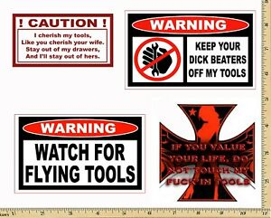 Funny Warning Stickers Complete Set Of 4 Decals Sexy Girl Tool Box Made Usa