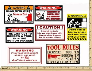 Funny Warning Stickers Complete Set Of 7 Decals Sexy Girl Tool Box Made Usa