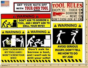 Funny Warning Stickers Complete Set Of 6 Decals Made Usa Man Cave Toolbox