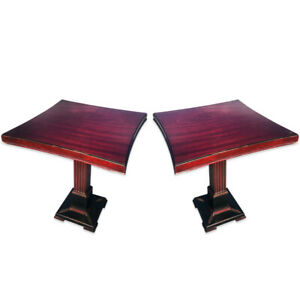 Pair Of Antique Federal Mahogany Pedestal End Accent Tables