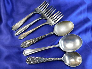 Lot Of 8 Misc Maker Sterling Silver Baby Forks 5 Baby Spoons 3 Good T