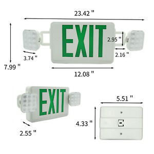 Square Head Combo Green Led Exit Sign Emergency Light Square Head Combo