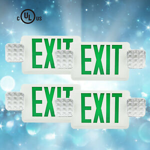 4pack Green Led Exit Sign Emergency Light Standard Combo New