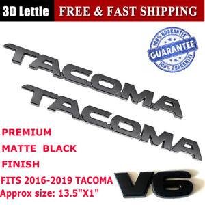 3pc 2016 2018 Toyota Tacoma Tag Matte Black Door Emblem Decal Badge Nameplate V6