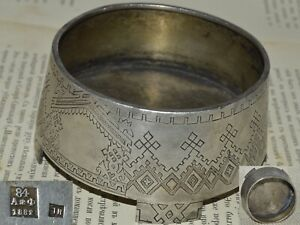 Faberge Besign Antique 19th Russian Imperial Silver 84 Sugar Candy Bowl Box
