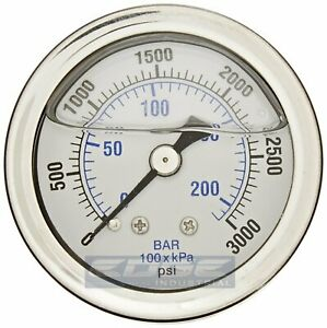 Liquid Filled Pressure Gauge 0 3000 Psi 1 5 Face 1 8 Npt Back Mount
