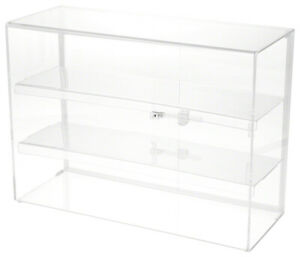 Plymor Locking Acrylic Display Case 2 Shelves 16 H X 22 W X 8 5 D