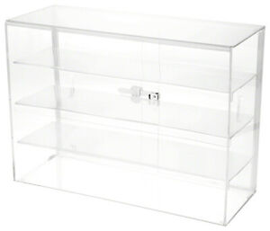 Plymor Locking Acrylic Display Case 3 Shelves 18 H X 26 W X 10 D
