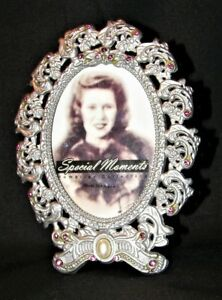 Silver Tone Metal With Pink Rhinestones Pearl Small Picture Frame 2 5 X 3 5
