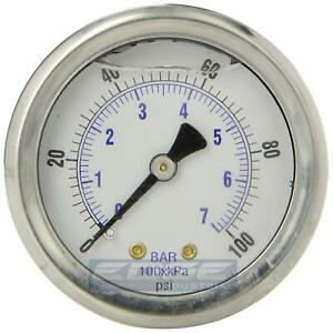 Liquid Filled Pressure Gauge 0 100 Psi 2 Face 1 4 Back Mount