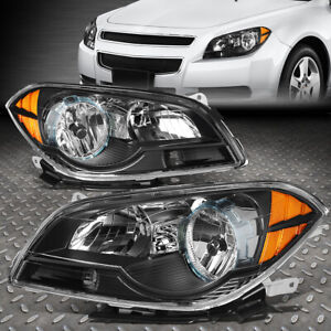 For 08 12 Chevy Malibu Black Housing Amber Corner Headlight Replacement Lamps