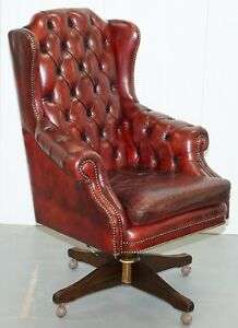 Hand Dyed 1960 S Chesterfield Oxblood Leather Directors Captains Office Chair