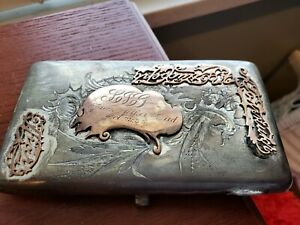 Vintage 1933 Russian Silver 84 166g Etched Engraved Cigarette Case Raised Detail