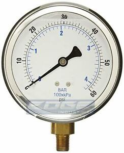 Liquid Filled Pressure Gauge 0 60 Psi 4 Face 1 4 Lower Mount