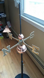 Good Directions Full Weathervane Set Up Polished Copper Balls Brass Directionals