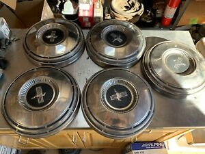 Ford Oem Set Of 5 Dog Dish Center Hub Caps 1968 1969 Mustang Fastback Rare