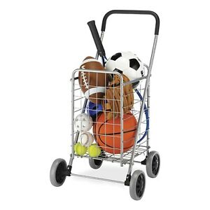 Collapsible Shopping Cart Foldable Utility Portable Rolling Trolley Basket New