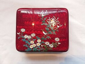 Antique C1900 Japanese Meiji Period Cloisonne Enamel Box Bird Branch Very Fine