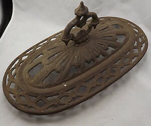Antique Cast Iron Wood Stove Top Lid Rustic W Finial 20 X 11 X 9