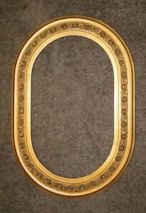Vintage Victorian Oval Gesso Gold Ornate Wood Picture Frame Great Patina Roses