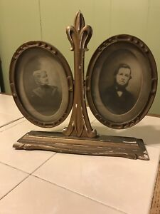 Victorian Wood Gesso Double Oval Picture Frame