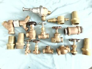 Lot Vintage Brass Valve Fittings Steampunk Pipe Lamp Parts Industrial