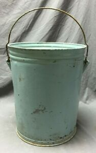 Vintage Baby Blue Trash Can Waste Basket Shabby Old Chic 254 19c