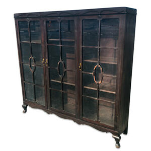 Antique Victorian Carved Mahogany 3 Glass Door Bookcase