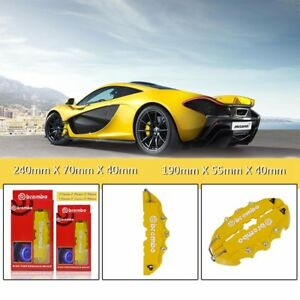 4pc Abs Yellow 3d Style Front Rear Universal Disc Car Truck Brake Caliper Covers