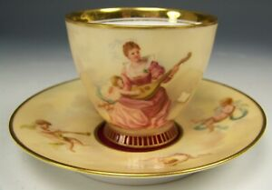 Rare Royal Vienna Hand Painted Musik Cupids Maiden Demitasse Footed Cup Saucer