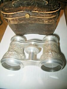 Vintage Rare 1940s Occupied Japan Silver Opera Glasses With Case