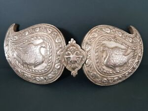 Antique Ottoman Jewelry Hand Forged And Engraved Silver Alloy Belt Buckle Birds