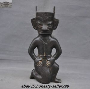 12 Chinese Old Bronze Sanxingdui Culture Relics Man People Statue China Antique