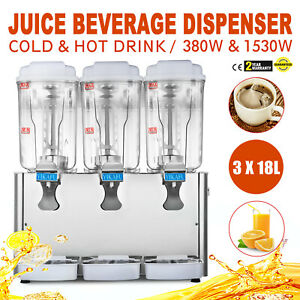 54l Hot Cold Drink Juice Beverage Dispenser 18l X 3 380w 1530w Beverage Juicer