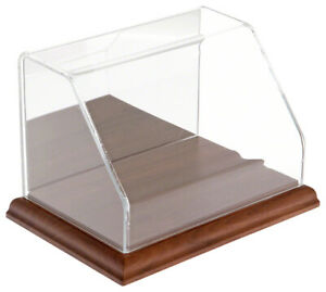 Plymor Slanted Acrylic Display Case W Wood Base mirrored 6 W X 4 D X 4 H