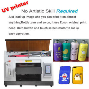 A3 Uv Printer 6 Color For Bottles Can Cylindrical Etc Signs 3d Rotation Embossed