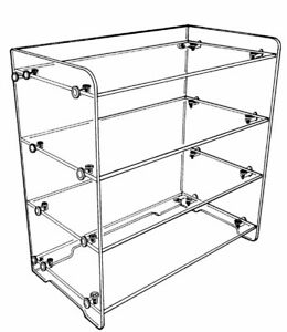 Plymor Clear Acrylic Straight Front 4 shelf Display 18 H X 18 5 W X 9 75 D