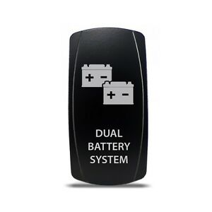 Rocker Switch Dual Battery System Symbol White Led