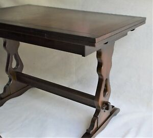 Antique English Walnut Extending Dining Kitchen Table Mission Style Legs 69