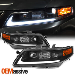 Black Fits 2004 2005 2006 2007 2008 Acura Tsx Led Bar Projector Headlights