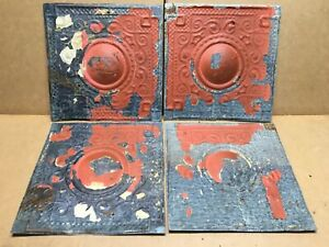4pc Lot Of 12 By 12 Antique Ceiling Tin Vintage Reclaimed Salvage Art Craft