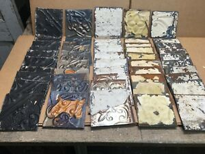 50pc Craft Lot Of 5 5 By 5 5 Antique Ceiling Tin Vintage Reclaimed Salvage Art