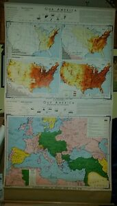 Vintage Pull Down School Map Our America World War I